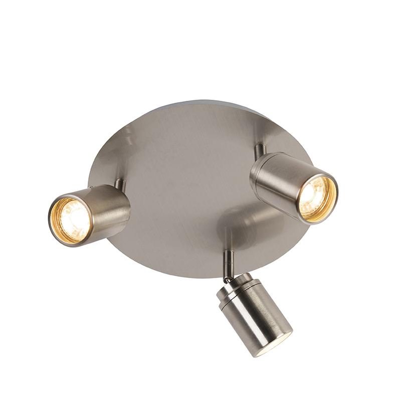 Moderne badkamer spot staal 3 lichts IP44 Ducha