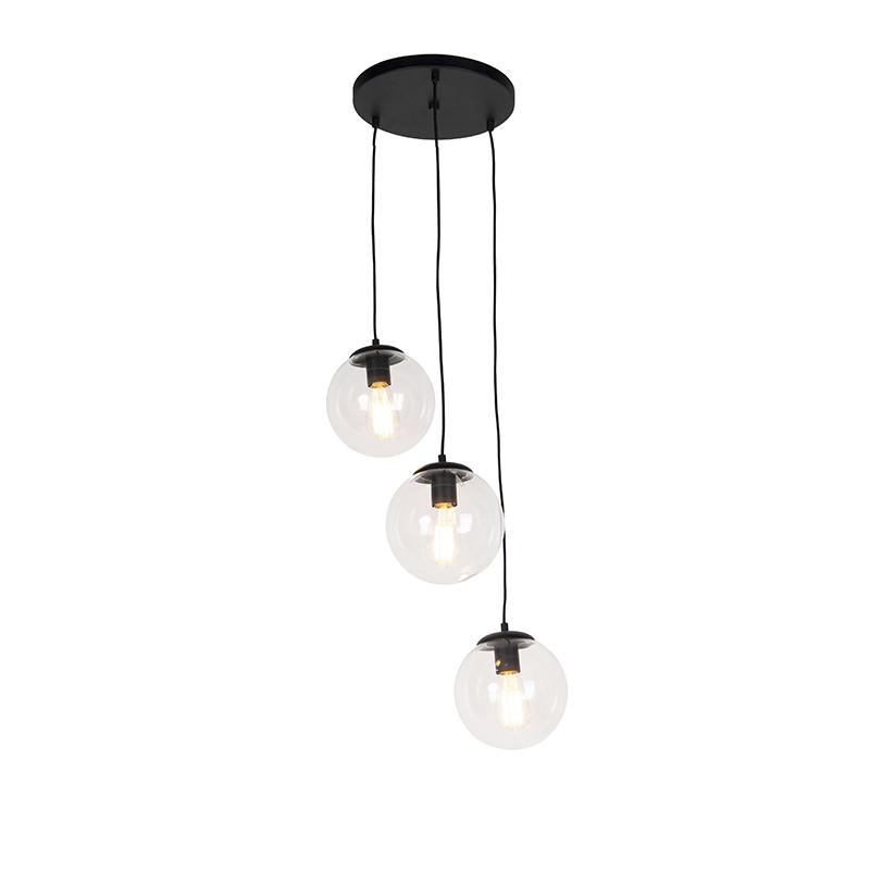 Art deco hanglamp zwart 3-lichts - Pallon