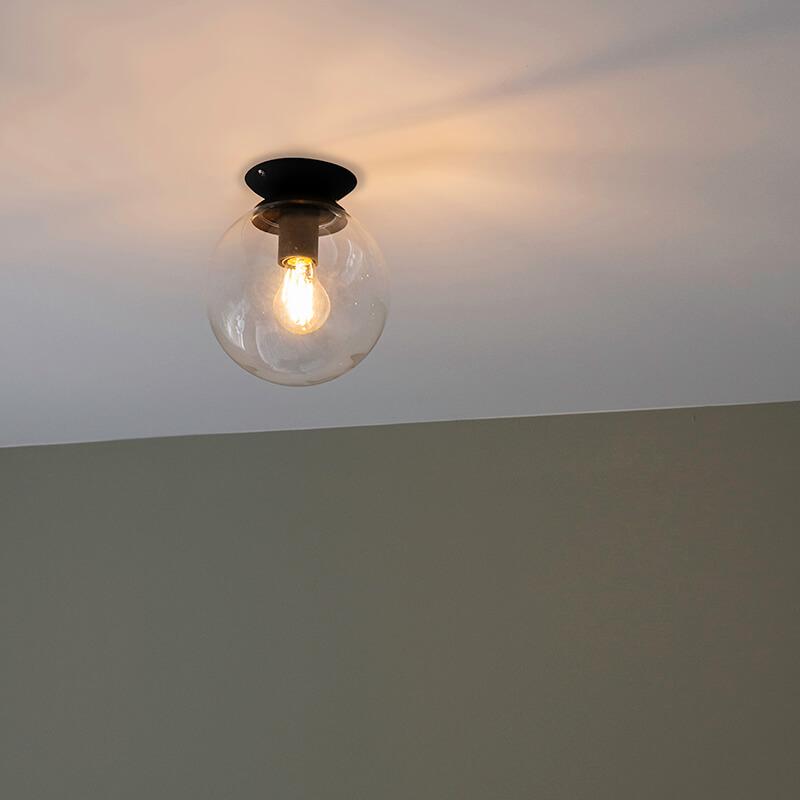 Art deco plafondlamp zwart - Pallon