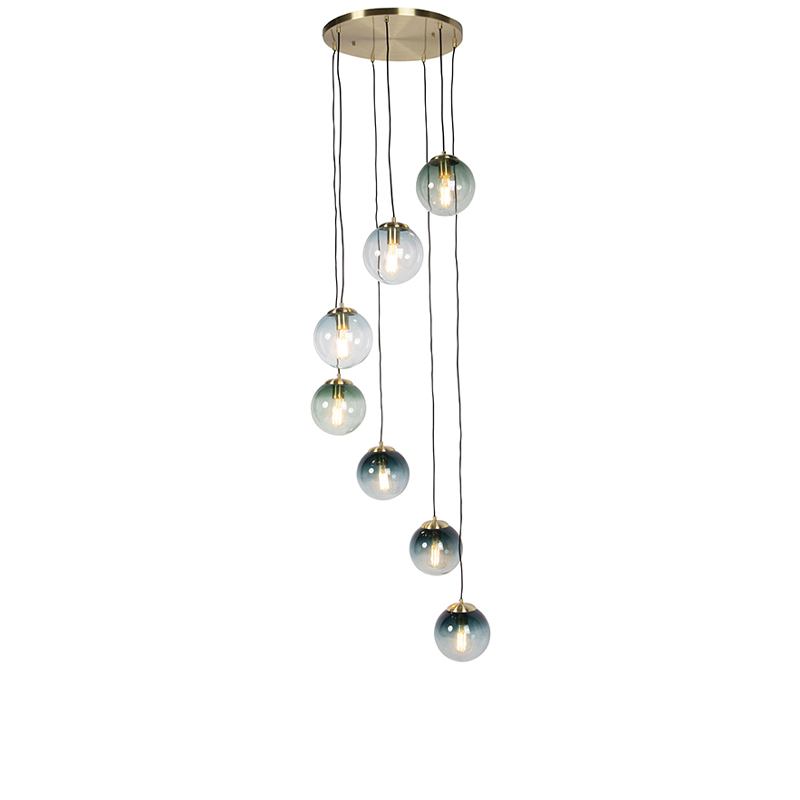 Art deco hanglamp messing 7-lichts - Pallon