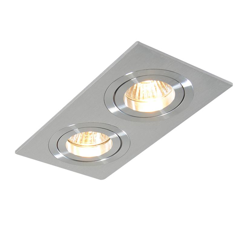 Set of 3 Recessed Rectangle Spotlight Aluminium - Lock 2