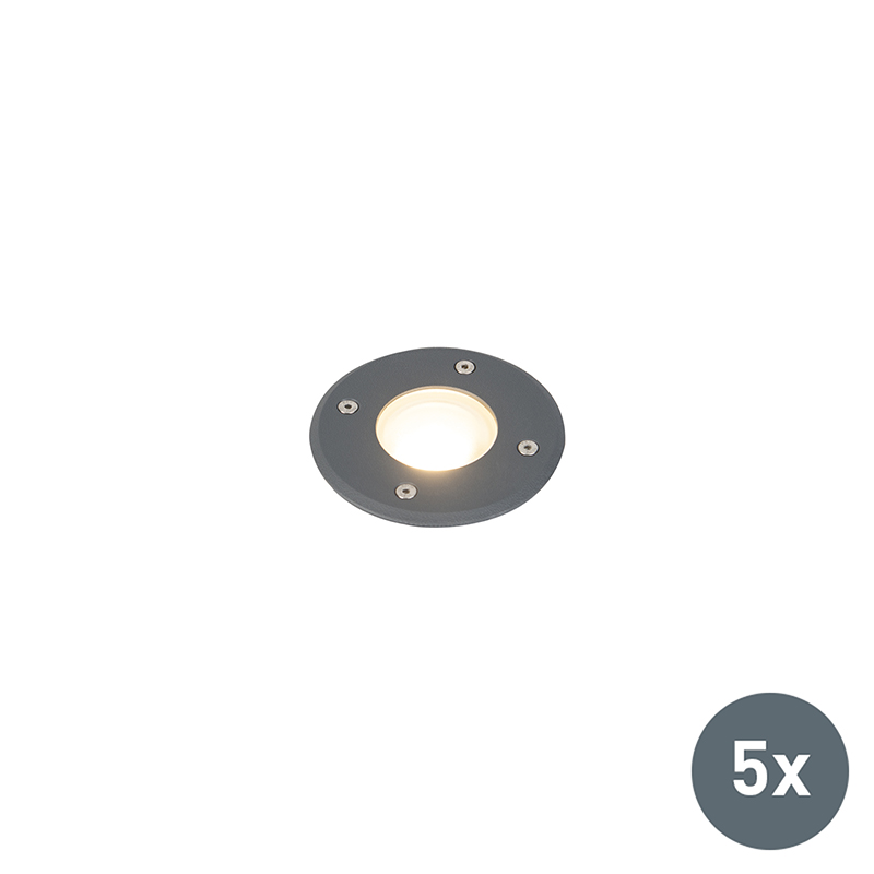 Moderne ronde grondspot donkergrijs 12,5cm set van 5 - Basso