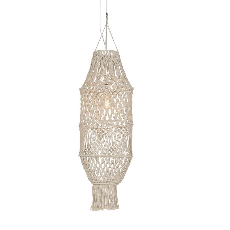 Retro závesná lampa s tienidlom makramé 130 cm - šnúrka