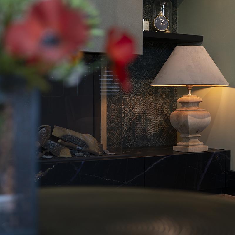 Landelijke tafellamp met velours kap taupe 50 cm Fern