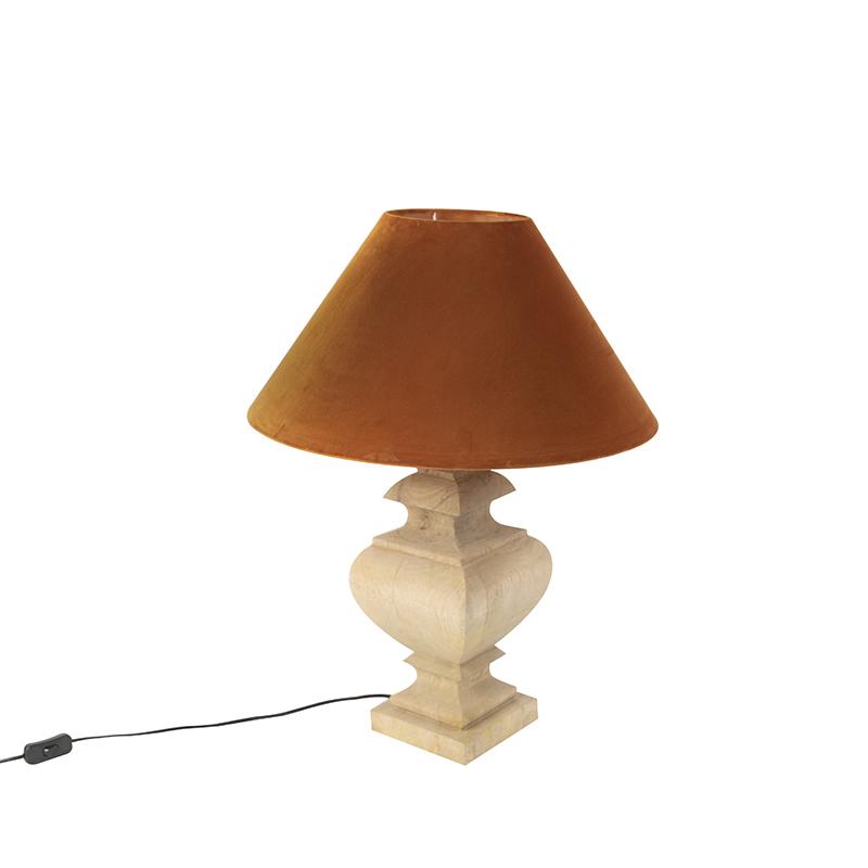 Landelijke tafellamp met velours kap pumpkin spice 50 cm - Fern