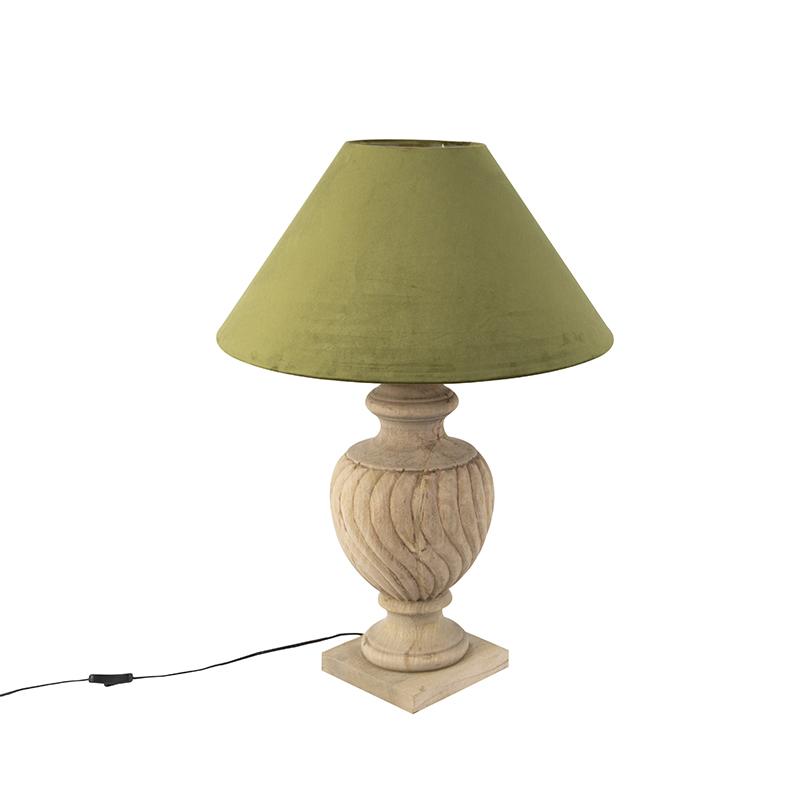 Landelijke tafellamp met velours kap mosgroen 55 cm - Tansy