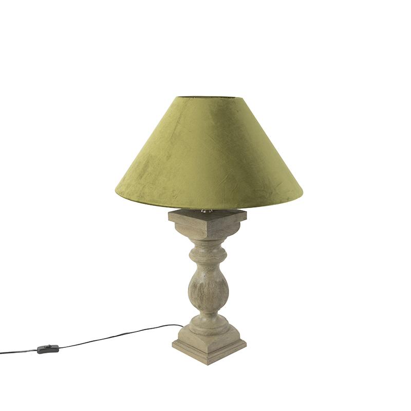 Landelijke tafellamp met velours kap mosgroen 50 cm - Hyssop