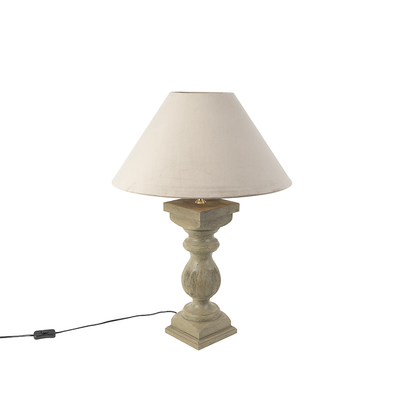 Landelijke tafellamp met velours kap taupe 50 cm - Hyssop