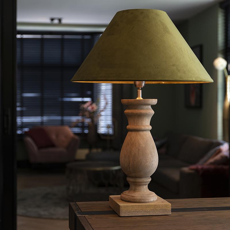 Landelijke tafellamp met velours kap mosgroen 50 cm - Catnip