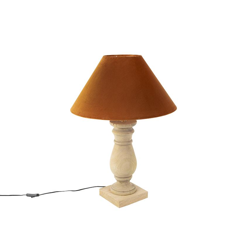 Landelijke tafellamp met velours kap pumpkin spice 50 cm - Catnip
