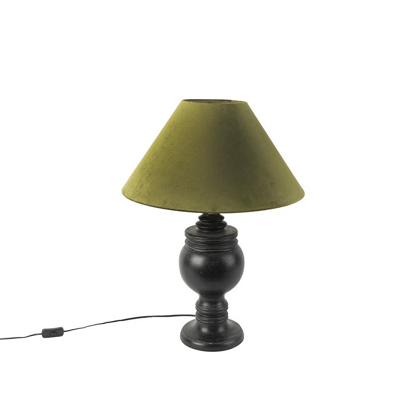 Landelijke tafellamp met velours kap mosgroen 50 cm - Sage