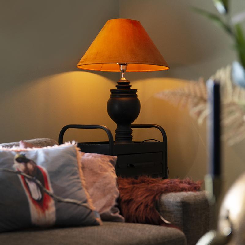 Landelijke tafellamp met velours kap pumpkin spice 50 cm - Sage