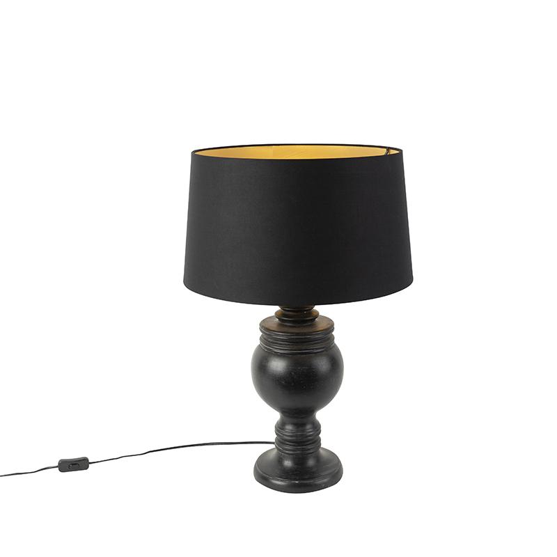 Landelijke tafellamp katoen zwarte kap met gouden binnenkant 45cm - Sage