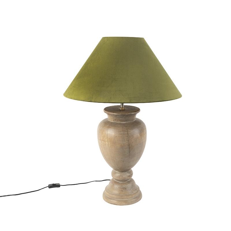 Landelijke tafellamp met velours kap mosgroen 55 cm - Clover