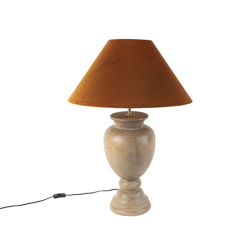 Landelijke tafellamp met velours kap pumpkin spice 55 cm - Clover