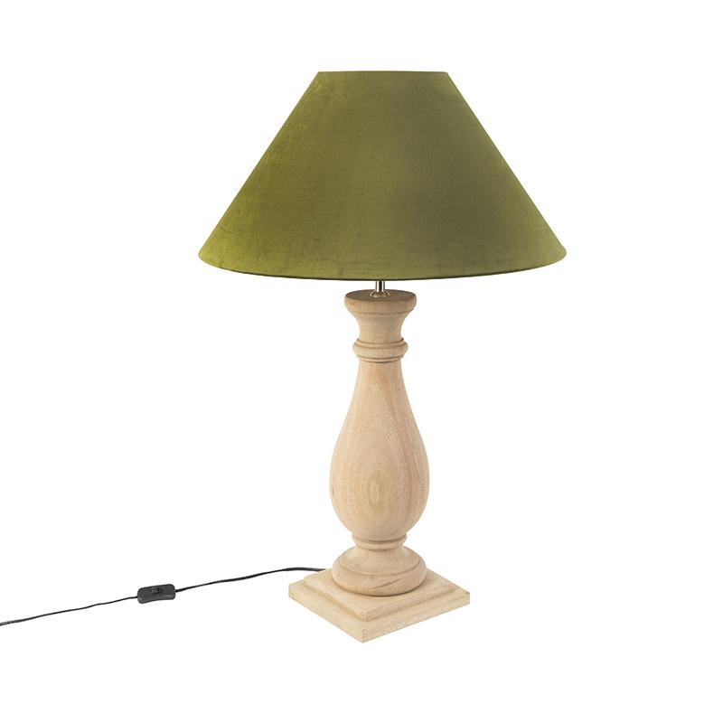 Landelijke tafellamp met velours kap mosgroen 55 cm - Burdock