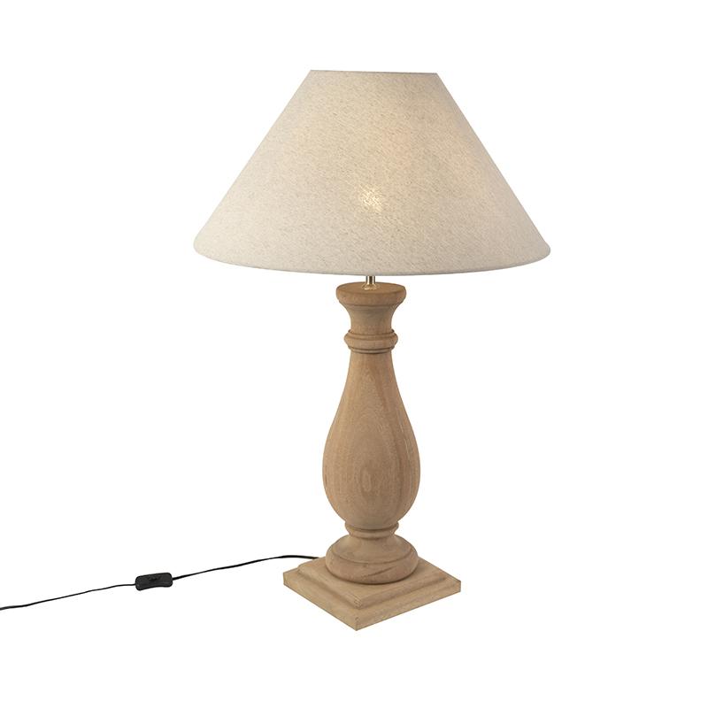 Landelijke tafellamp met linnen kap beige 55 cm - Burdock