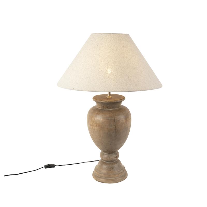 Landelijke tafellamp met linnen kap beige 55 cm - Clover