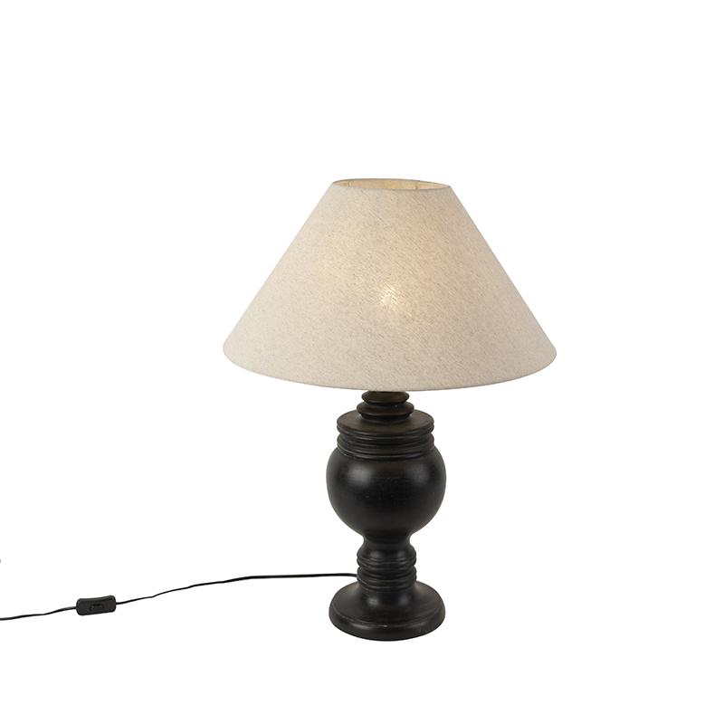 Landelijke tafellamp met linnen kap beige 50 cm - Sage