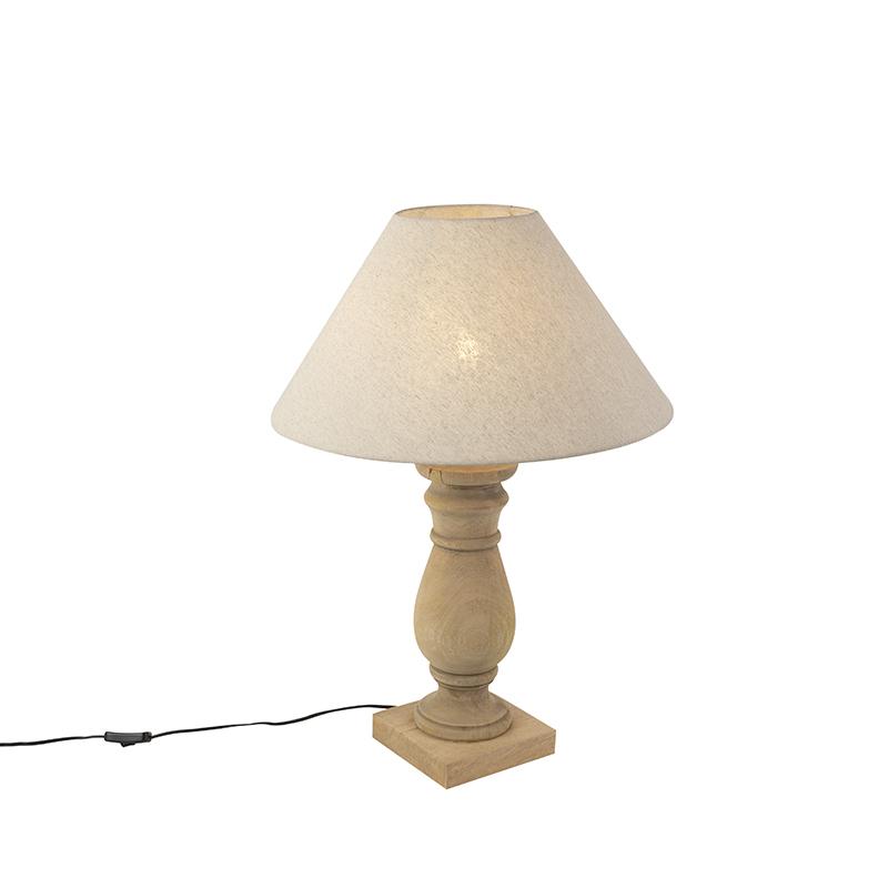 Landelijke tafellamp met linnen kap beige 50 cm - Catnip