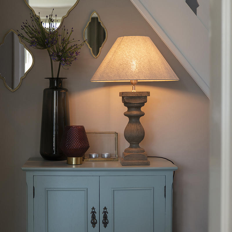 Landelijke tafellamp met linnen kap beige 50 cm - Hyssop