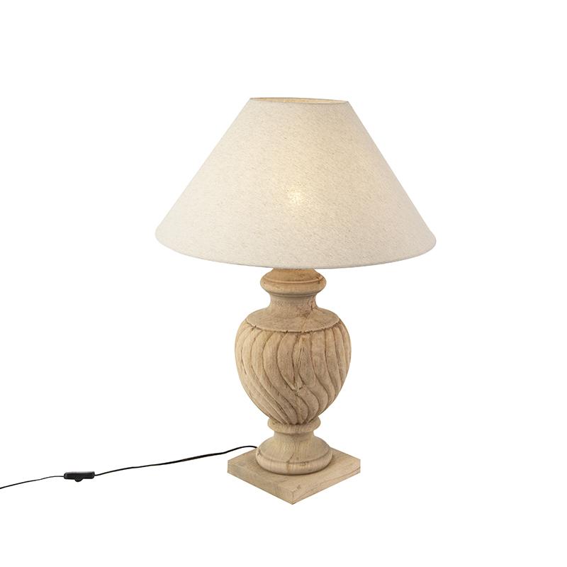 Landelijke tafellamp met linnen kap beige 55 cm - Tansy