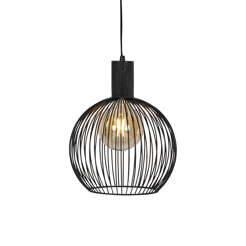 Moderne ronde hanglamp zwart 30 cm - Wire