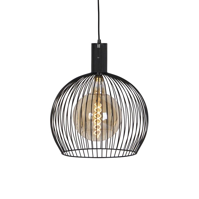 Moderne ronde hanglamp zwart 40 cm - Wire