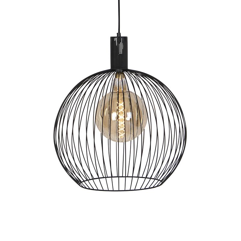 Moderne ronde hanglamp zwart 50 cm - Wire