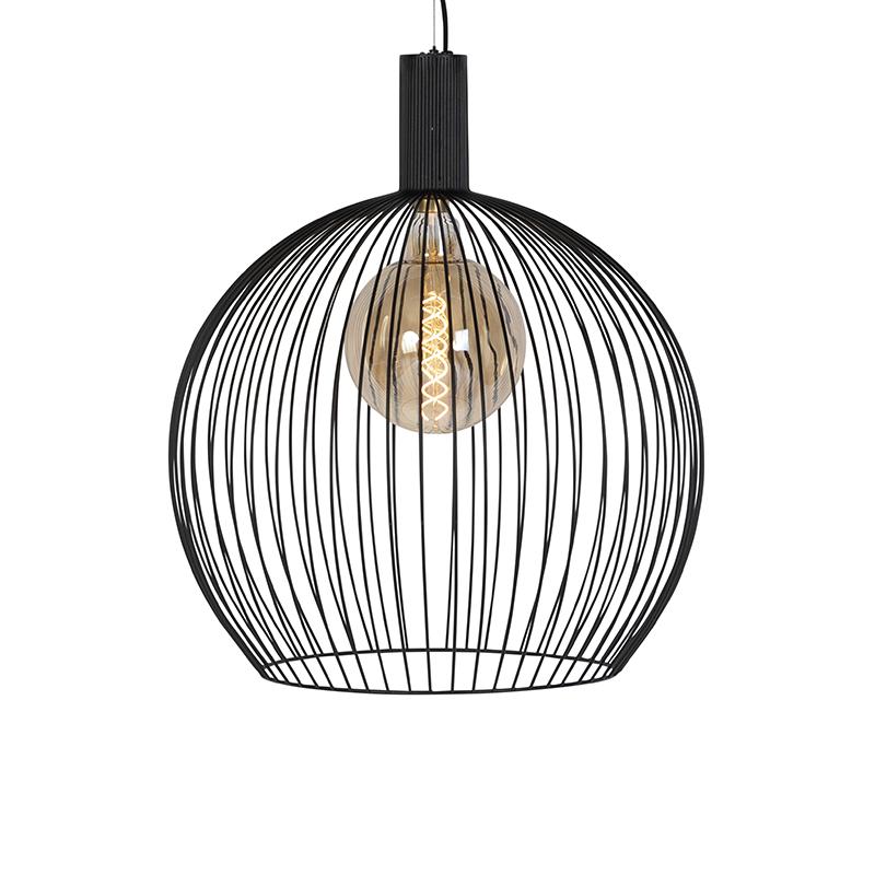 Moderne ronde hanglamp zwart 60 cm - Wire