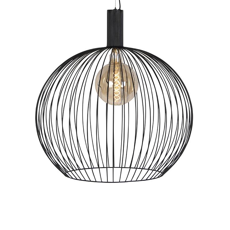 Moderne ronde hanglamp zwart 70 cm - Wire