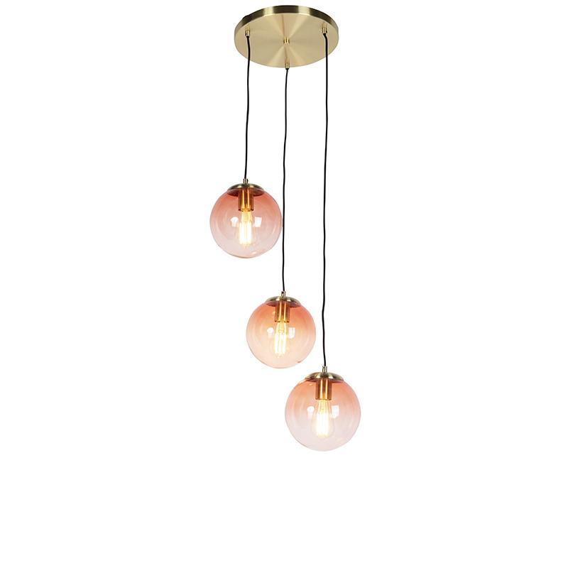 Art deco hanglamp messing 45 cm 3-lichts roze - Pallon