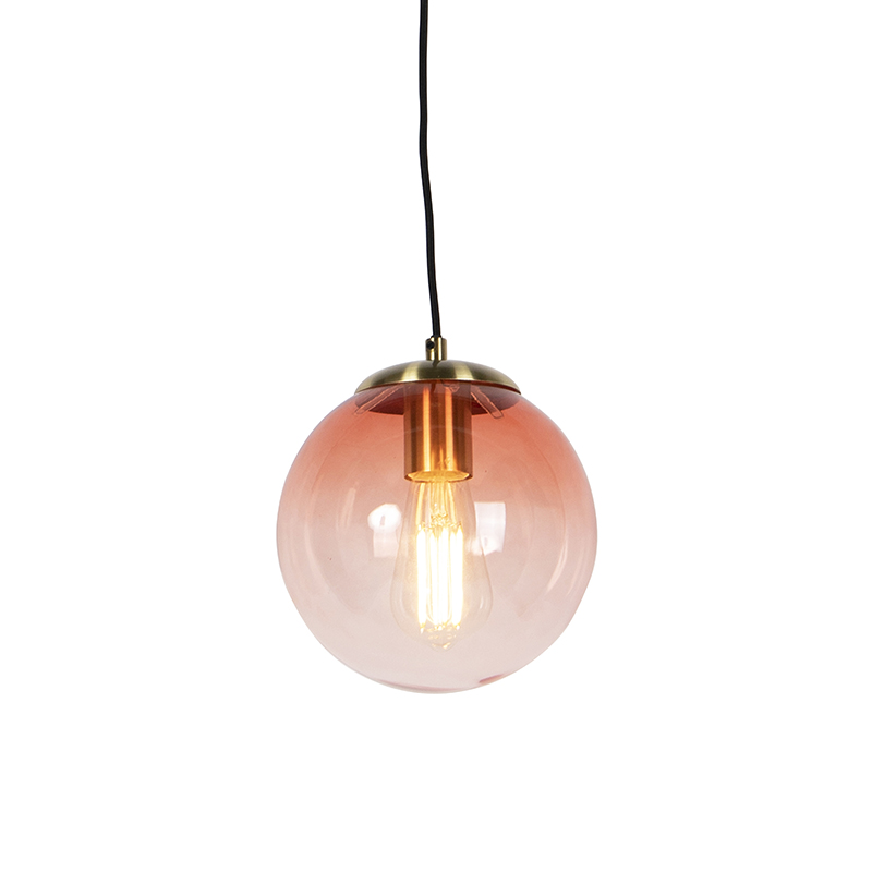 Art Deco Hanglamp Messing Met Roze Glas 20 Cm - Pallon