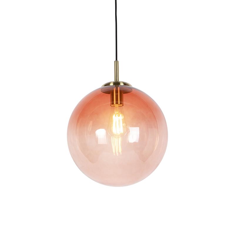 Art Deco Hanglamp Messing Met Roze Glas 33 Cm - Pallon