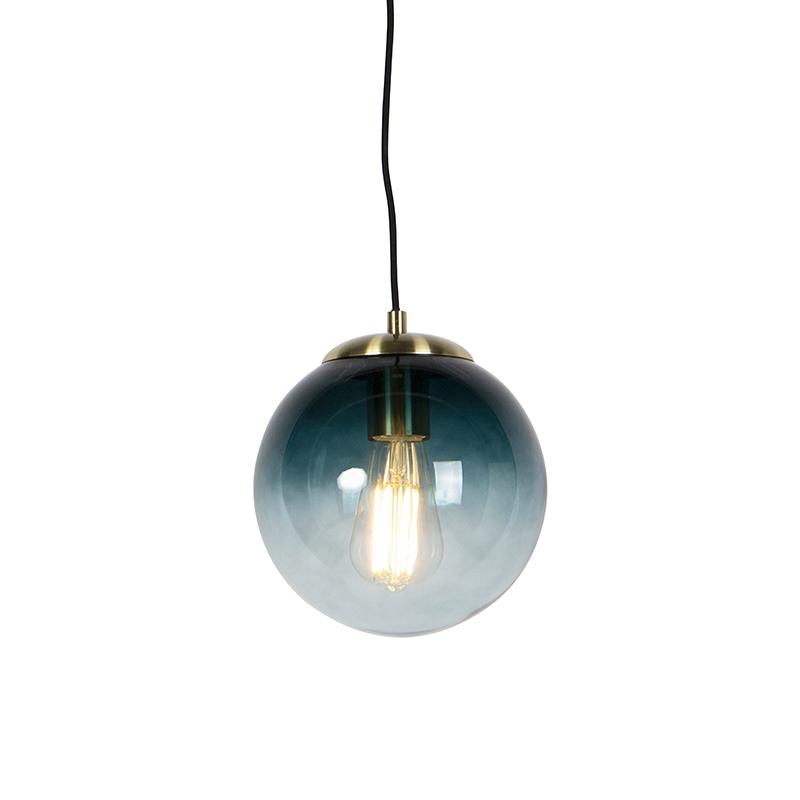 Art deco hanglamp messing met oceaanblauw glas 20 cm - Pallon