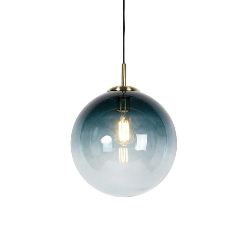 Art Deco Hanglamp Messing Met Oceaanblauw Glas 33 Cm - Pallon