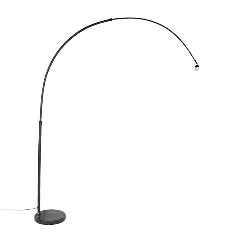 Lampa podłogowa łuk czarna marmurowa podstawa - XXL