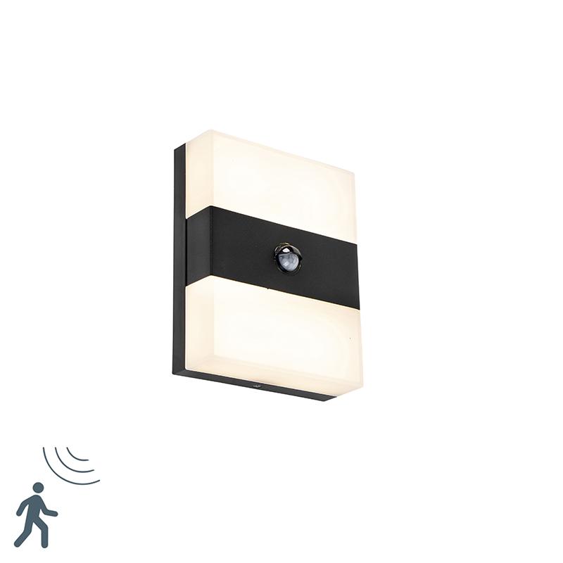 Buitenwandlamp zwart IP44 incl. LED met bewegingsmelder - Dualy