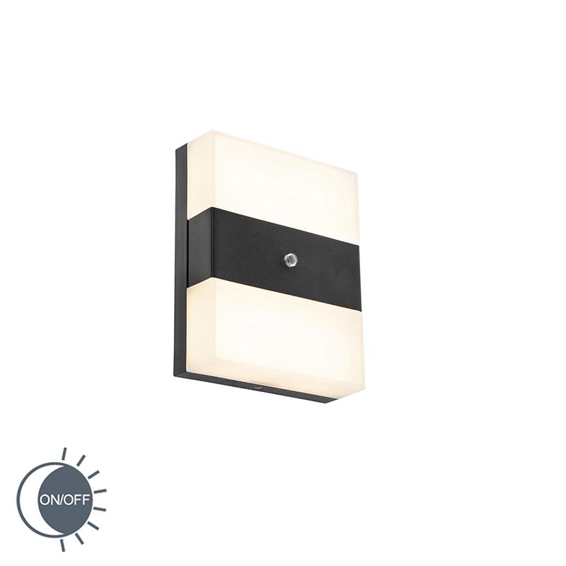 Buitenwandlamp zwart IP44 incl. LED met licht-donker sensor - Dualy