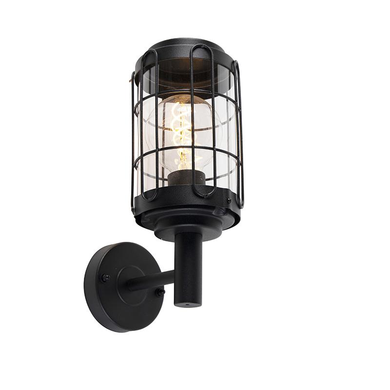 Industriële wandlamp zwart IP44 - Bares