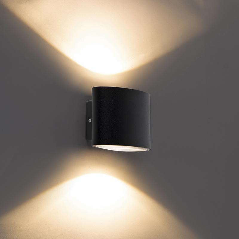 Moderne buitenwandlamp zwart incl. LED IP44 - Ovum