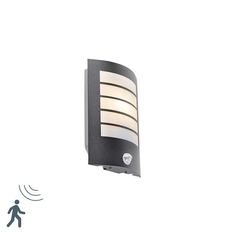 Buitenwandlamp zwart IP44 met bewegingssensor - Miro