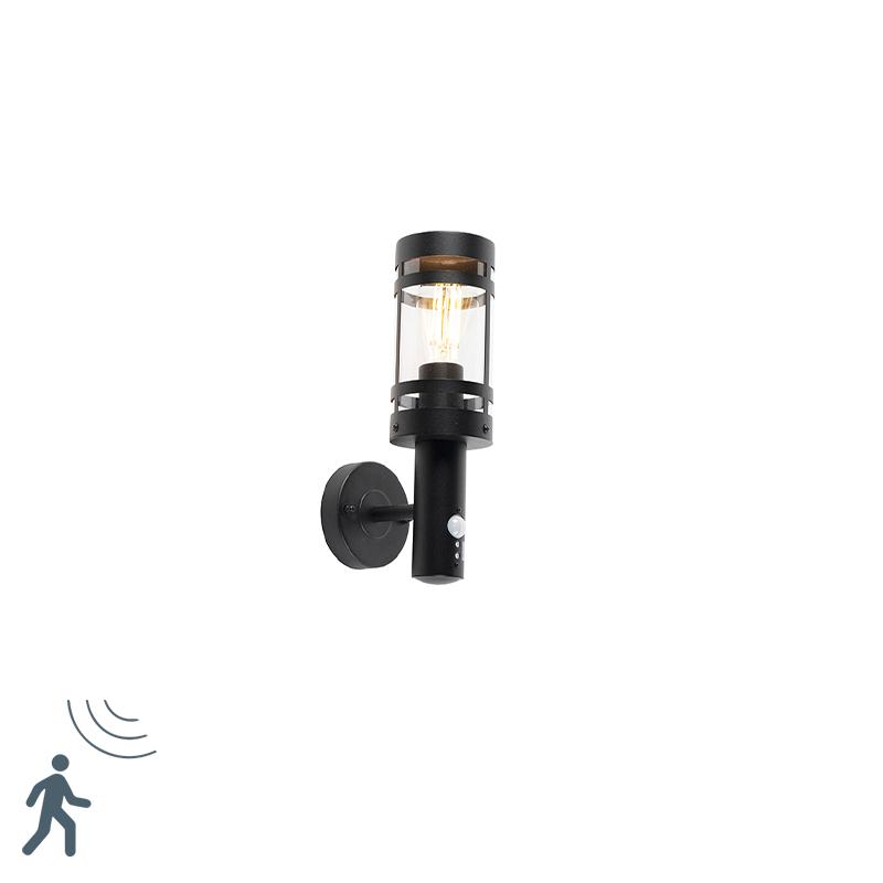 Nowoczesny kinkiet zewnętrzny czarny IP44 z czujnikiem ruchu - Gleam