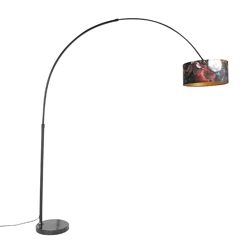 Zwarte booglamp met velours kap bloemen met goud 50 cm - XXL