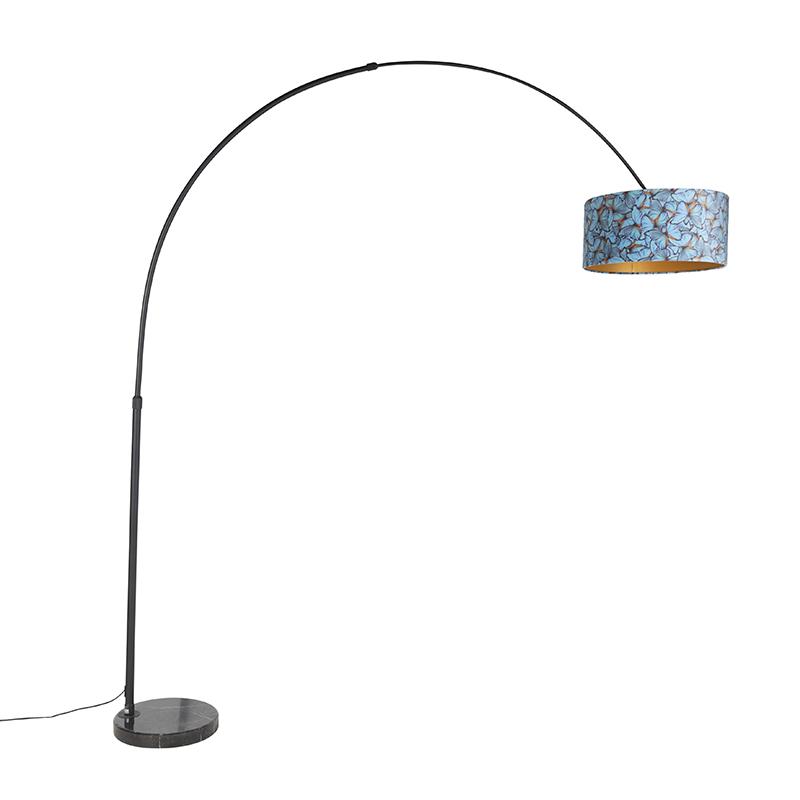 Zwarte booglamp met velours kap vlinder met goud 50 cm - XXL
