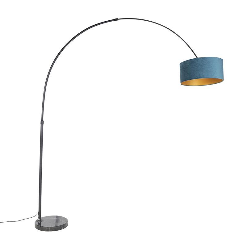 Zwarte booglamp met velours kap blauw met goud 50 cm - XXL