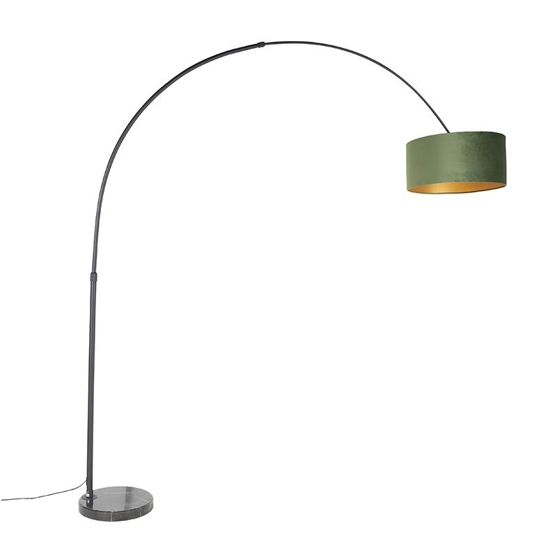 Zwarte booglamp met velours kap groen met goud 50 cm - XXL