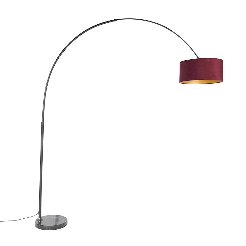 Zwarte booglamp met velours kap rood met goud 50 cm - XXL