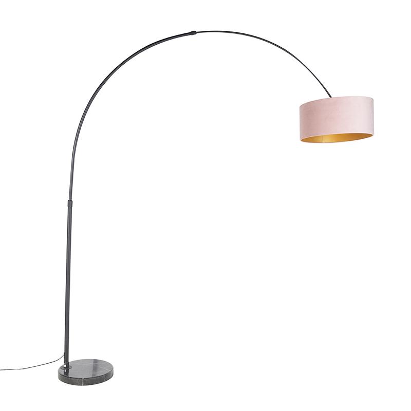 Zwarte booglamp met velours kap roze met goud 50 cm - XXL