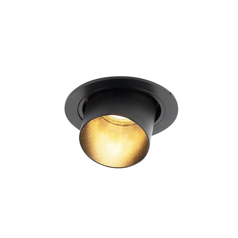 Moderne ronde inbouwspot kantelbaar zwart - Installa